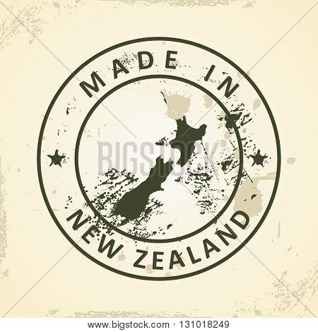 Grunge stamp with map of New Zealand - vector illustration