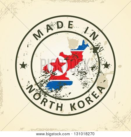 Grunge stamp with map flag of North Korea - vector illustration