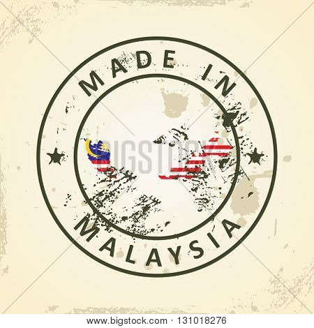 Grunge stamp with map flag of Malaysia - vector illustration