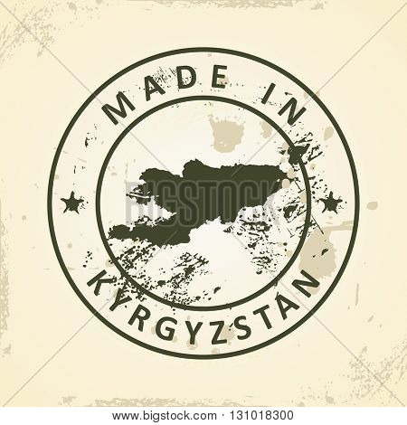 Grunge stamp with map of Kyrgyzstan - vector illustration