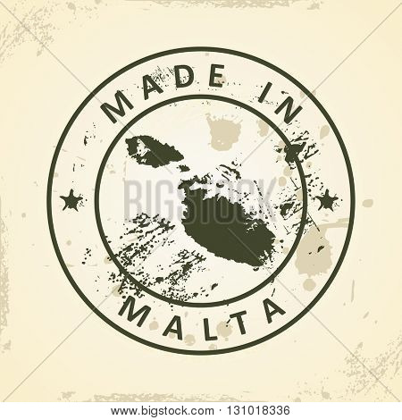 Grunge stamp with map of Malta - vector illustration