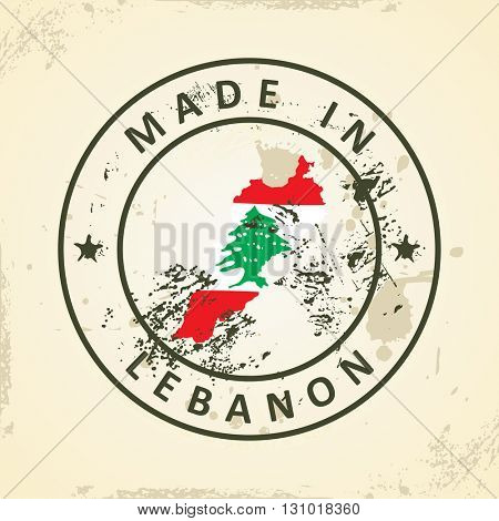 Grunge stamp with map flag of Lebanon - vector illustration
