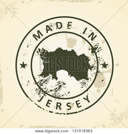 Grunge stamp with map of Jersey - vector illustration