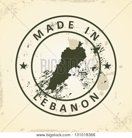 Grunge stamp with map of Lebanon - vector illustration