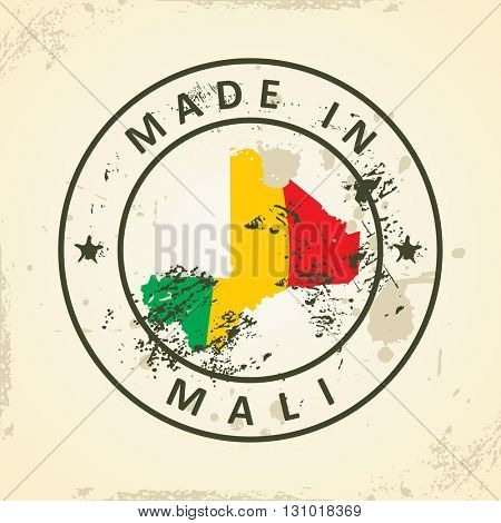 Grunge stamp with map flag of Mali - vector illustration