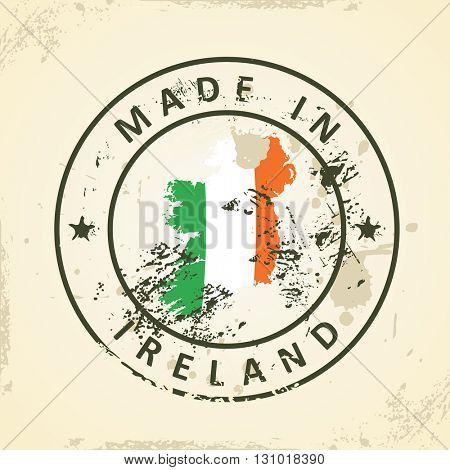 Grunge stamp with map flag of Ireland - vector illustration