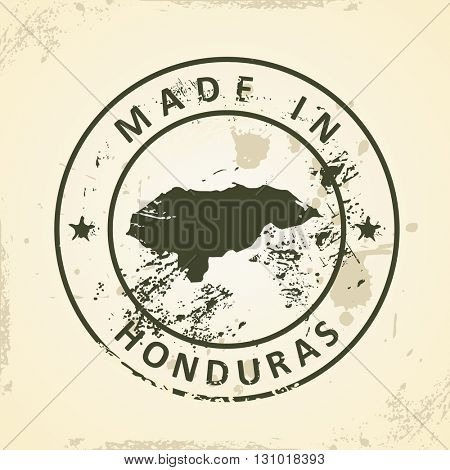 Grunge stamp with map of Honduras - vector illustration