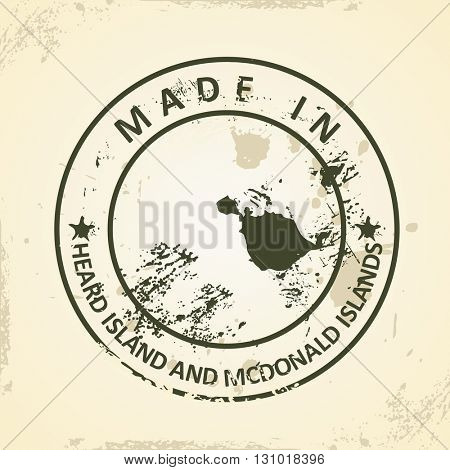 Grunge stamp with map of Heard Island and McDonald Islands - vector illustration