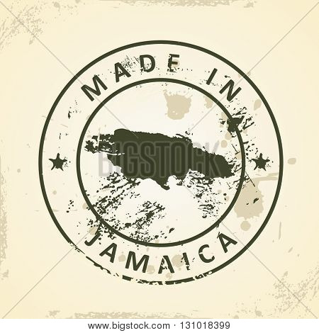 Grunge stamp with map of Jamaica - vector illustration