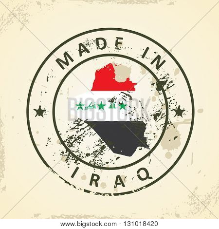 Grunge stamp with map flag of Iraq - vector illustration