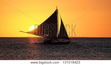 Sailing boat on the sea at the sunset at Boracay island Philippines