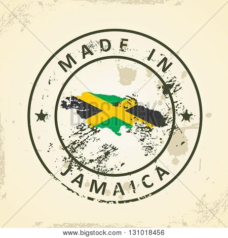 Grunge stamp with map flag of Jamaica - vector illustration