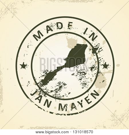 Grunge stamp with map of Jan Mayen - vector illustration