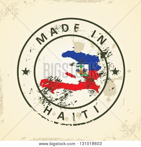 Grunge stamp with map flag of Haiti - vector illustration