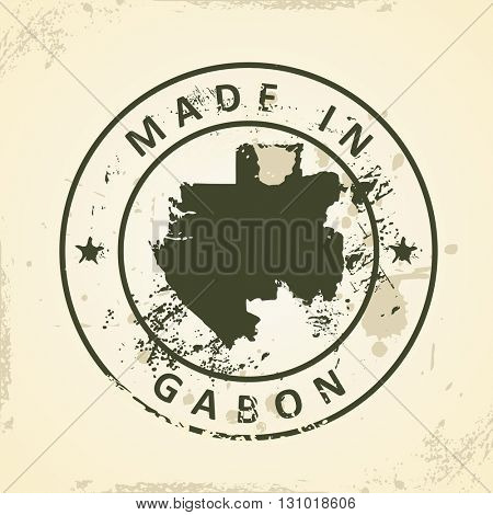 Grunge stamp with map of Gabon - vector illustration
