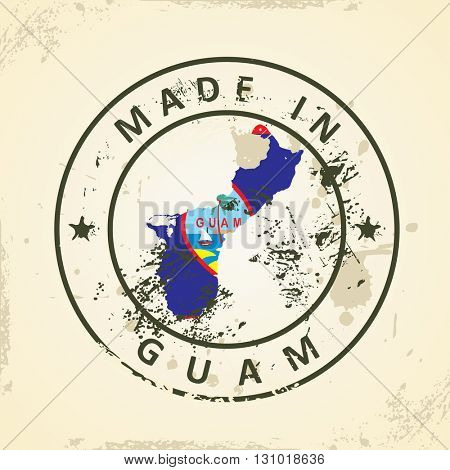 Grunge stamp with map flag of Guam - vector illustration