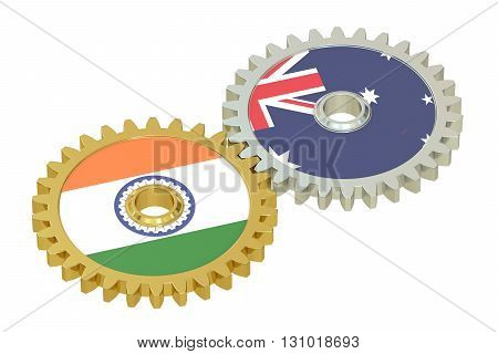 India and Australia flags on a gears 3D rendering isolated on white background