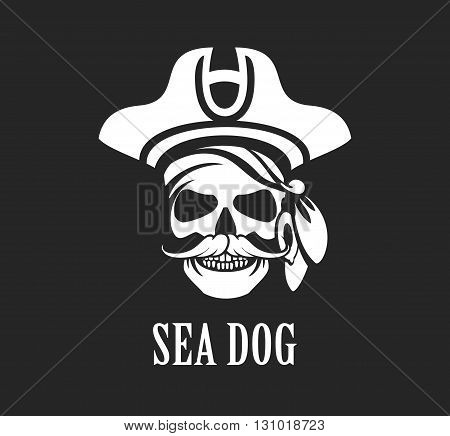 vector black and white emblem skull sea pirate