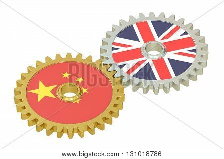 United Kingdom and China relations concept flags on a gears. 3D rendering isolated on white background