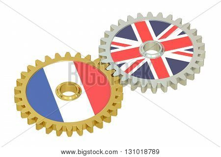 United Kingdom and France relations concept flags on a gears. 3D rendering isolated on white background