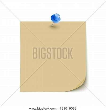 Vector Note Paper with pin on white background