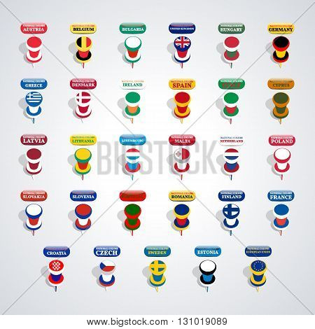 Set of pushpin in the national colors of countries members of the European Union vector illustration.