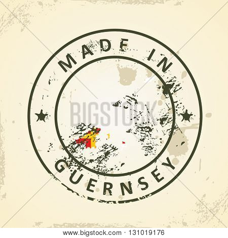 Grunge stamp with map flag of Guernsey - vector illustration