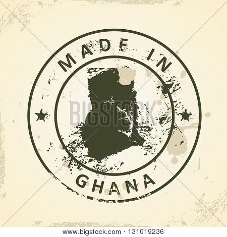 Grunge stamp with map of Ghana - vector illustration