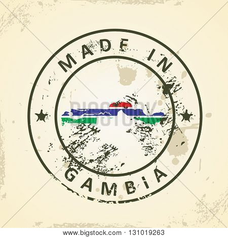 Grunge stamp with map flag of Gambia - vector illustration
