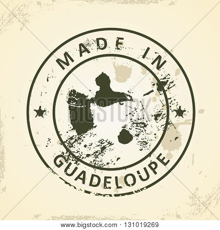 Grunge stamp with map of Guadeloupe - vector illustration