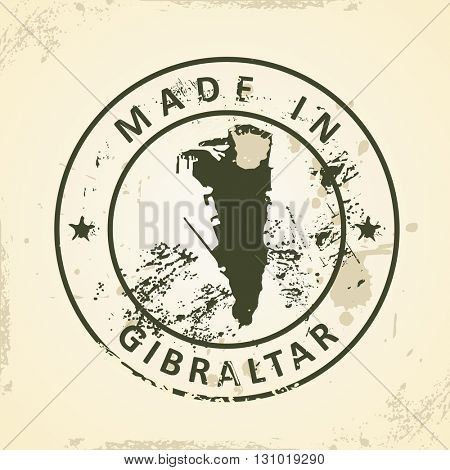 Grunge stamp with map of Gibraltar - vector illustration