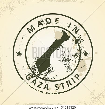 Grunge stamp with map of Gaza Strip - vector illustration