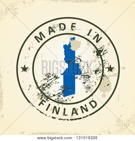 Grunge stamp with map flag of Finland - vector illustration