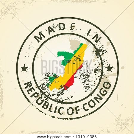 Grunge stamp with map flag of Republic of Congo - vector illustration