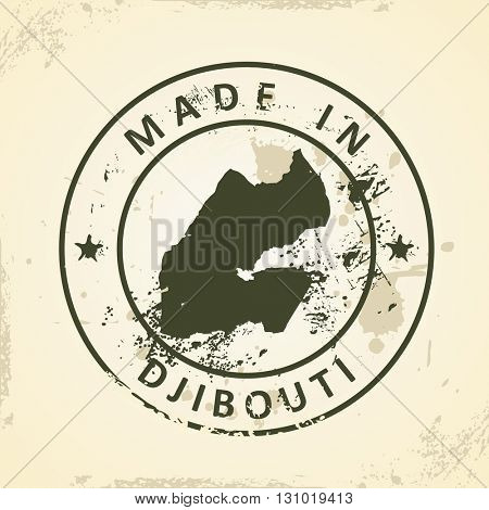 Grunge stamp with map of Djibouti - vector illustration