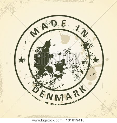 Grunge stamp with map of Denmark - vector illustration