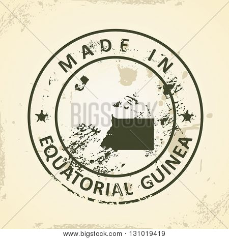 Grunge stamp with map of Equatorial Guinea - vector illustration