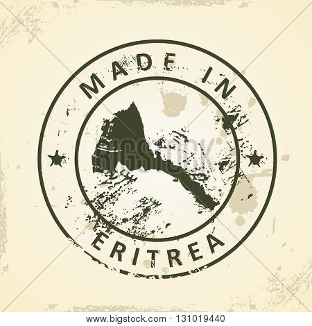 Grunge stamp with map of Eritrea - vector illustration