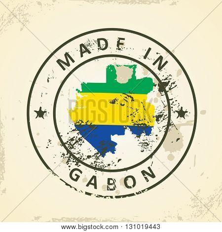 Grunge stamp with map flag of Gabon - vector illustration