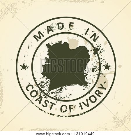 Grunge stamp with map of Coast of Ivory - vector illustration