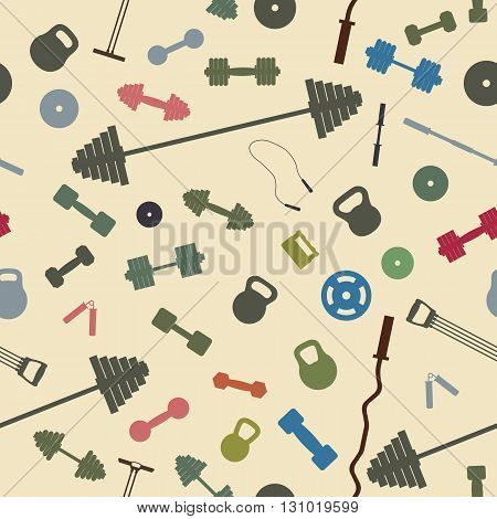Seamless background from items of sports equipment vector illustration.