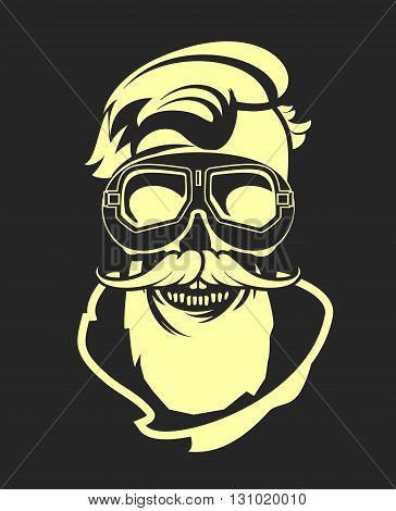 Dead pilot vector image of skull in helmet poster black and white