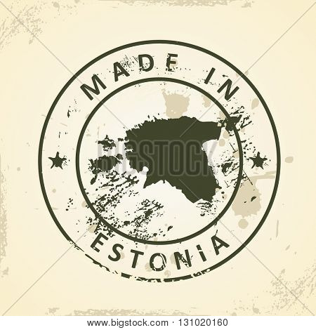 Grunge stamp with map of Estonia - vector illustration