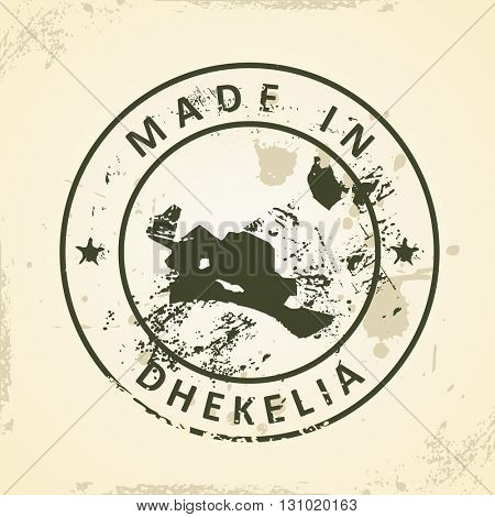 Grunge stamp with map of Dhekelia - vector illustration