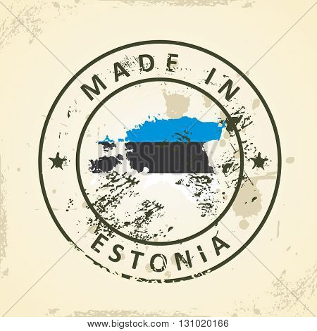 Grunge stamp with map flag of Estonia - vector illustration