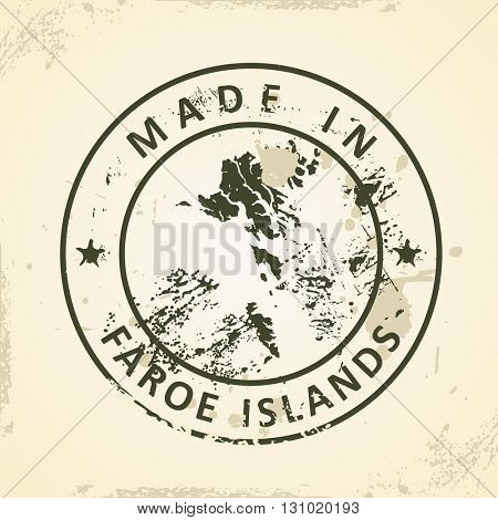 Grunge stamp with map of Faroe Islands - vector illustration