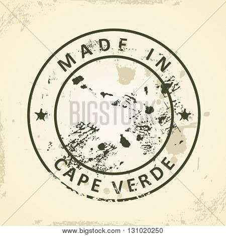 Grunge stamp with map of Cape Verde - vector illustration