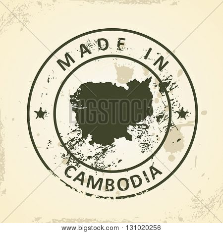 Grunge stamp with map of Cambodia - vector illustration