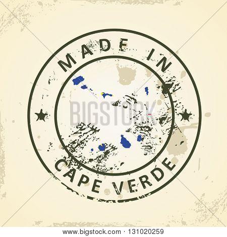 Grunge stamp with map flag of Cape Verde - vector illustration
