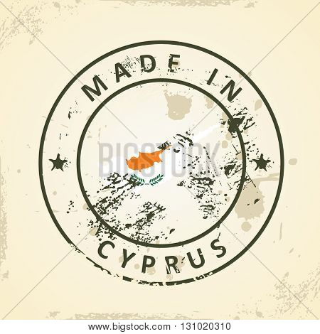 Grunge stamp with map flag of Cyprus - vector illustration